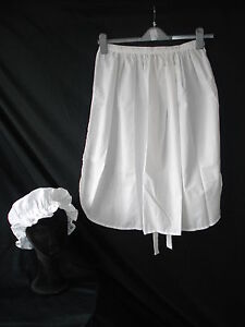 Ladies-white-victorian-fancy-dress-apron-and-mop-cap-new