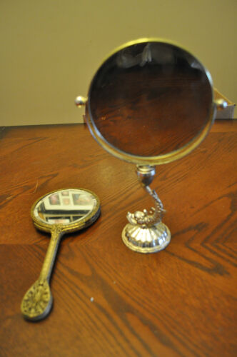 Lady's Vintage Bronze Hand Mirror and Gold Make-up Mirror in Antiques, Other | eBay