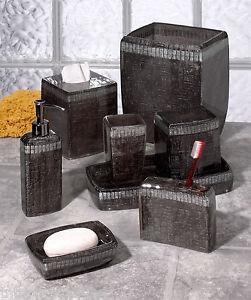 Abboud Black Rattan Design Bath Accessories Bathroom Collection On PopScreen