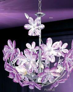 lampadario lilla : Lampada da soffitto fiori lilla stile moderno Lampadario sospensione ...