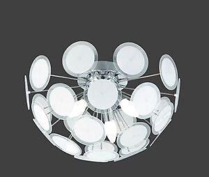 Lampadario moderno acciaio cromato plafoniera lampada soffitto bagno cucina ecc ebay - Plafoniera bagno soffitto ...