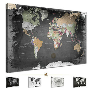 lanakk weltkarte leinwandbild poster pinnwand kork vintage schwarz wei grau ebay. Black Bedroom Furniture Sets. Home Design Ideas