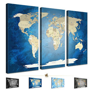 lanakk weltkarte worldmap engl sprache leinwandbild. Black Bedroom Furniture Sets. Home Design Ideas