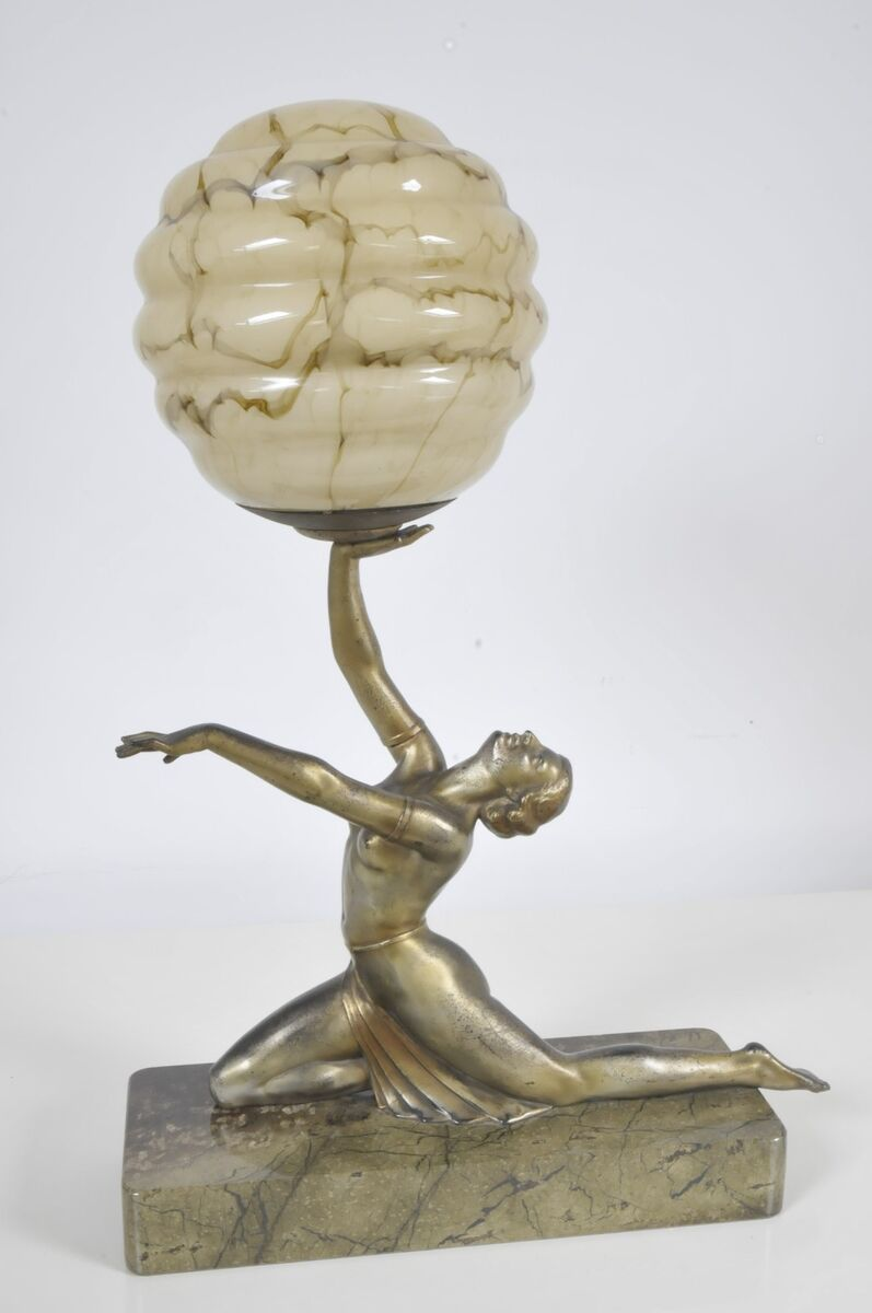 Large Art Deco Spelter Lady Figure Table Lamp on Marble Base c1930 Orig Shade