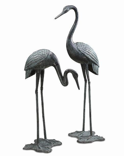 Large Garden Crane Pair Brass Statue Sculpture Bird Nautical Coast Bronze 64 H Ebay