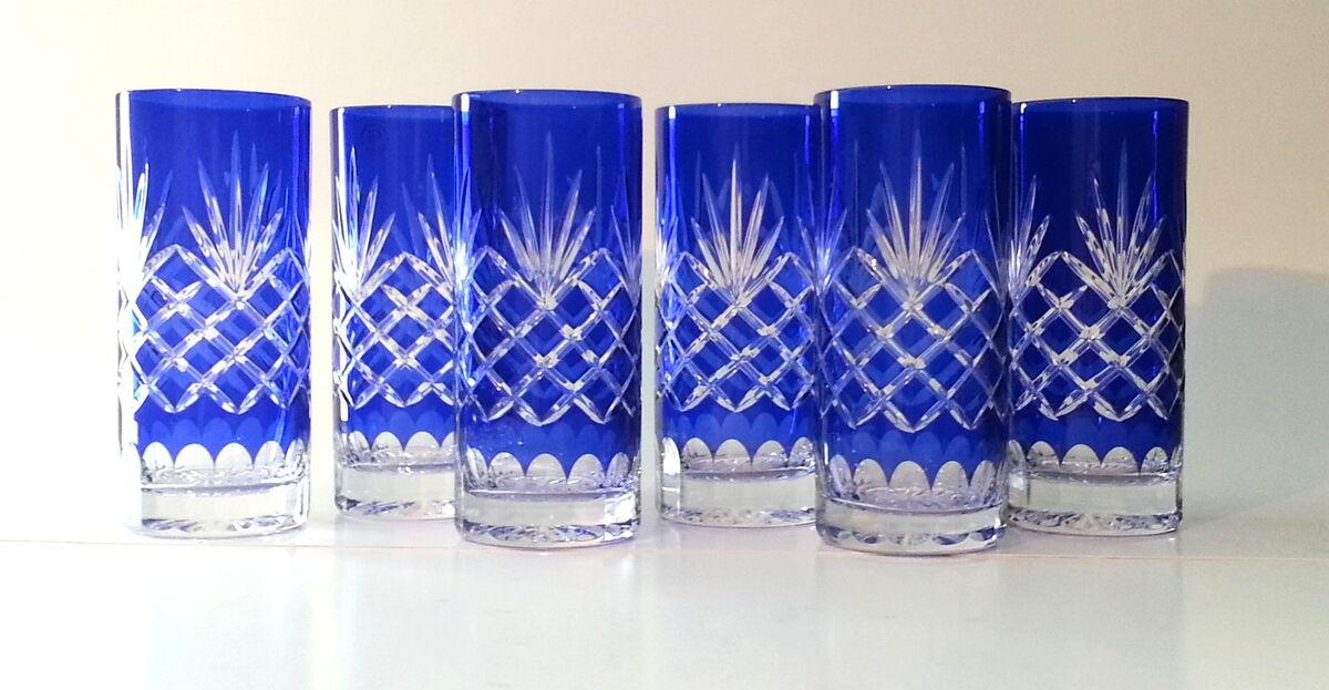 Large Highball Tumbler Water Crystal Glasses Cobalt Blue Diamond Cut