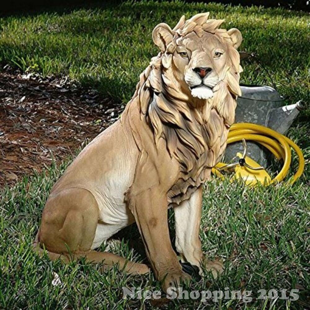 Large Lion Garden Statue Realistic Sculpture Outdoor Decor