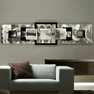 modern abstract aluminum metal wall art decor silver black medallion