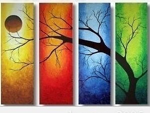 Large Modern Abstract Art Oil Painting Wall Deco Canvas-Tree On Canva (no Frame)