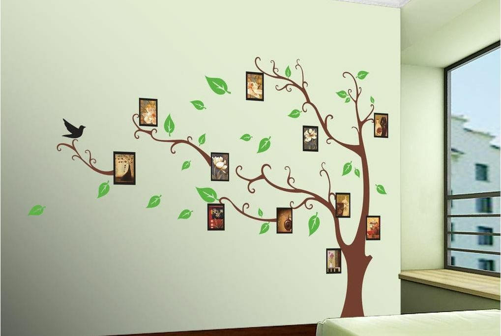 Large flower tree and butterfly home decor wall stickers for Deco mural stickers