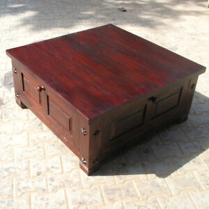 Large Rustic Wood Square Storage Box Trunk Sofa Coffee Table W Wrought