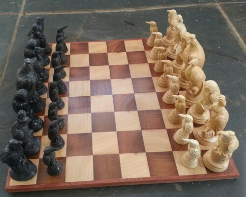 Large vintage style chess set board-wood inlays & british birds chessmen pieces in Toys & Hobbies, Games, Board & Traditional Games | eBay