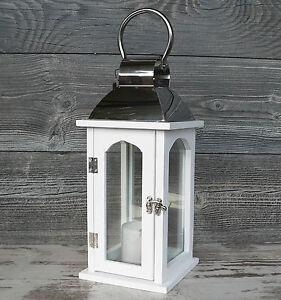 laterne holz metall glas windlicht 35cm hochzeit holzlaterne wei chrom silber ebay. Black Bedroom Furniture Sets. Home Design Ideas