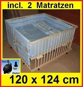 laufstall laufgitter 120x124cm zwillinge 2 matratzen verstellbarer boden neu ebay. Black Bedroom Furniture Sets. Home Design Ideas