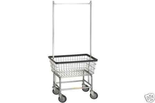 Laundry Cart w Basket Double Pole Rack Hang Clothes