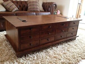Laura ashley garrat 12 drawer chestnut coffee table ebay for Coffee tables laura ashley