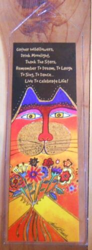 Leanin Tree - Bookmark - Laurel Burch Colorful Cat with Flowers - Celebrate Life in Books, Accessories, Bookmarks | eBay