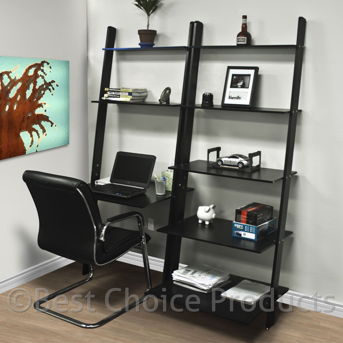 leaning shelf bookcase with computer desk office furniture. Black Bedroom Furniture Sets. Home Design Ideas