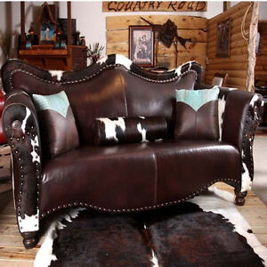 Leather Curved Top Sofa Nailhead Trim Custom Made Ebay
