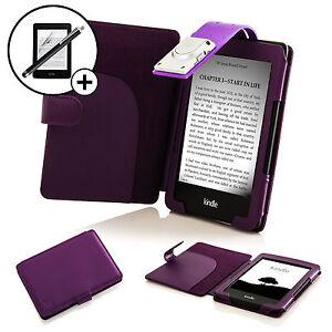 Leder-Lila-Huelle-Etui-mit-LED-Leuchte-Amazon-Kindle-2016-Displayschutzfolie