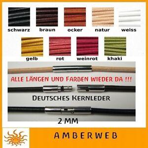 Lederkette-2mm-Leder-Halsband-Herren-Halskette-mit-Bajonett-Lederband-alle-Laenge