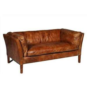 ledersofa sofa leder ledersofa antik braun sana ebay. Black Bedroom Furniture Sets. Home Design Ideas