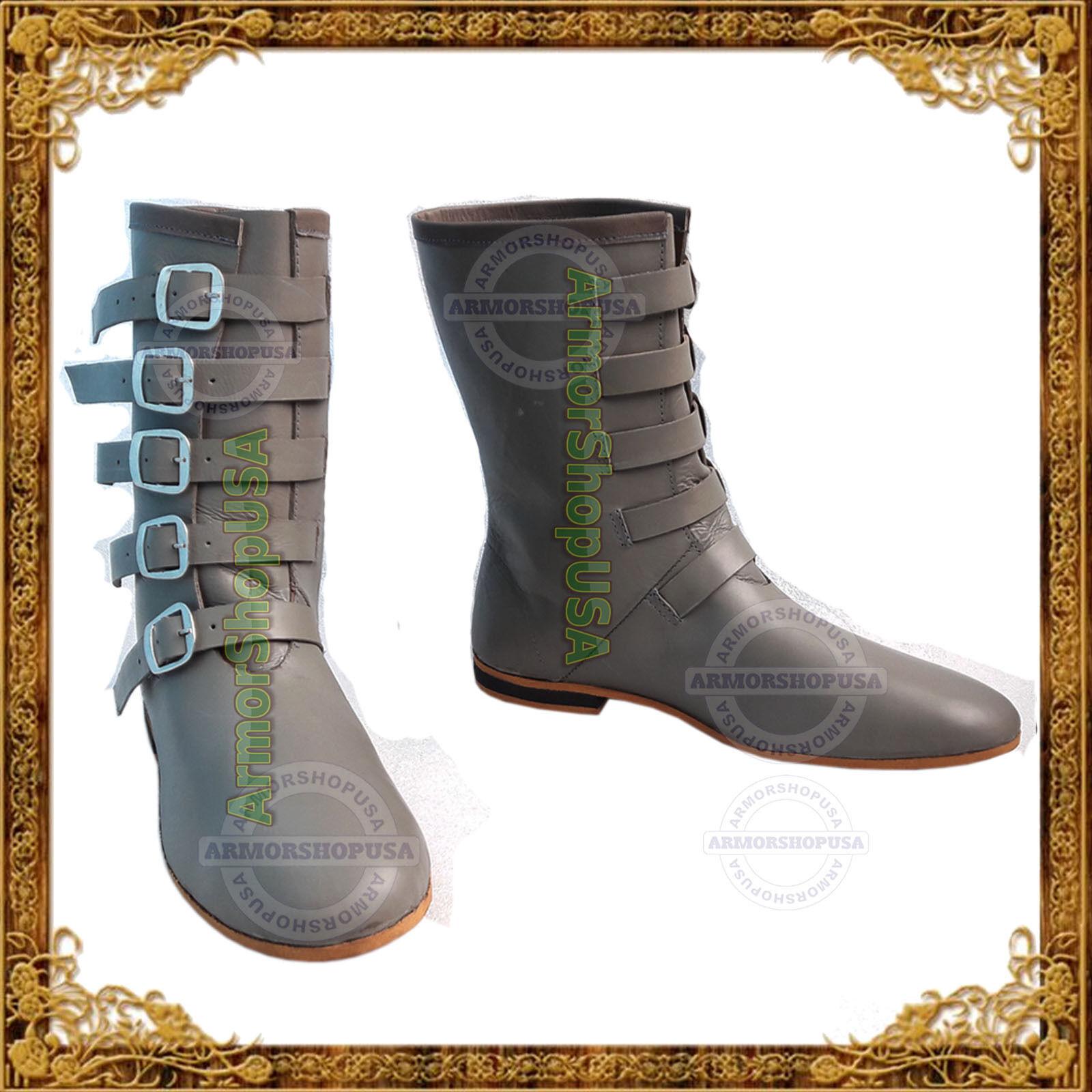 Details zu Lederstiefel Rüstung Ritterhelm Mittelalter Stiefel Schuhe Grau Ritterstiefel
