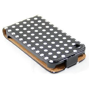 Ledertasche-iPhone-3G-3GS-schwarz-weiss-Handytasche-Huelle-Lederhuelle-Retro-Punkte