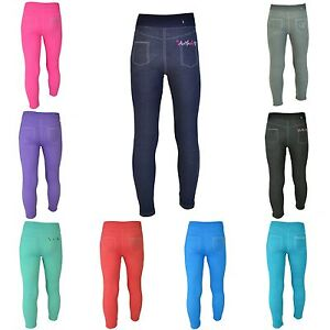 Leggings-Maedchen-Jeans-Optik-Jeggings-Kinder-Treggings-Leggins-Strass-Gr-98-164