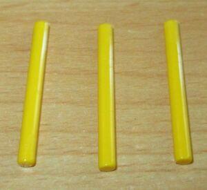 Lego-3x-Laser-Stangen-4-Noppen-lang-in-Gelb-Selten