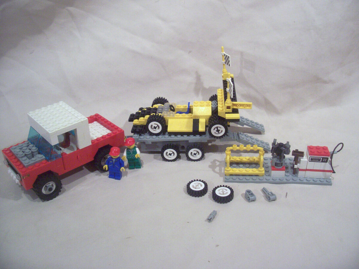 Lego truck trailer race car and pit area