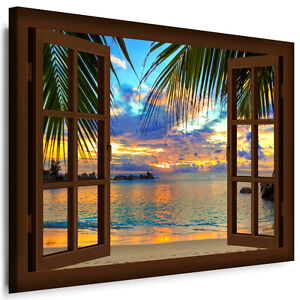 leinwand bild fensterblick n178 bilder palme strand meer wandbilder kein poster ebay. Black Bedroom Furniture Sets. Home Design Ideas