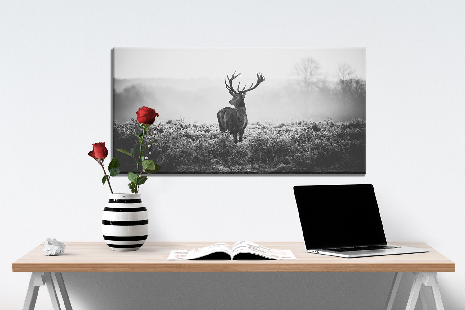 leinwand bild hirsch s w 100x50cm tier natur 1 teiler wandbild xxl ebay. Black Bedroom Furniture Sets. Home Design Ideas