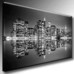 leinwand bild skyline new york manhattan schwarzwei ebay. Black Bedroom Furniture Sets. Home Design Ideas