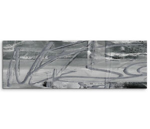 Leinwandbild panorama schwarz grau wei paul sinus abstrakt 508 150x50cm ebay - Leinwandbild grau ...