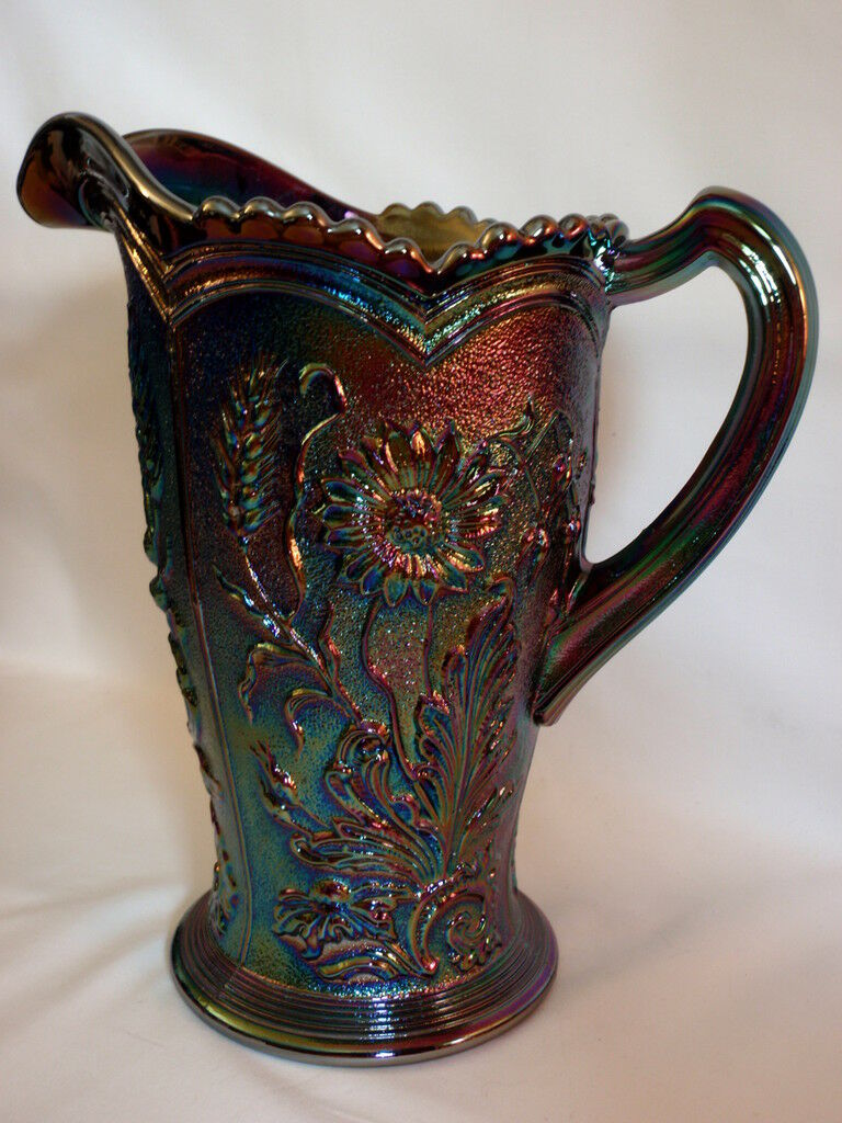 Imperial Amethyst Field & Flower Carnival Glass Pitcher Marked