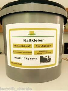 lenzolit kaltkleber bitumen kaltanstrich kleber f r dachpappe bitumenkleber 10kg ebay. Black Bedroom Furniture Sets. Home Design Ideas
