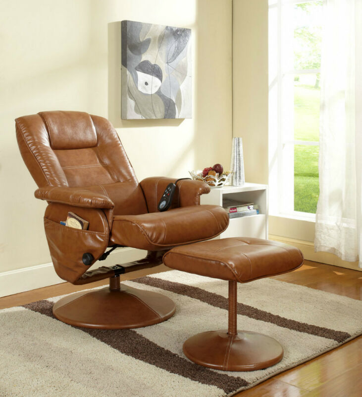 light brown leather massage recliner swivel chair. Black Bedroom Furniture Sets. Home Design Ideas
