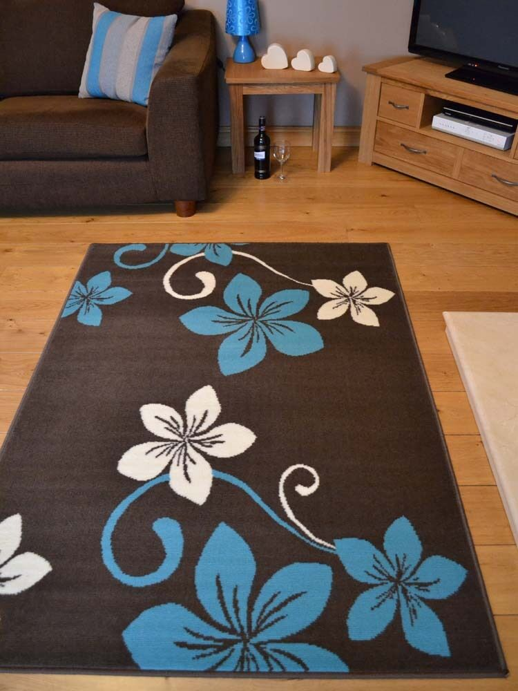 Brown And Blue Patterned Bathroom Rugs: New Brown And Teal Blue Small Extra Large Huge Size Floor