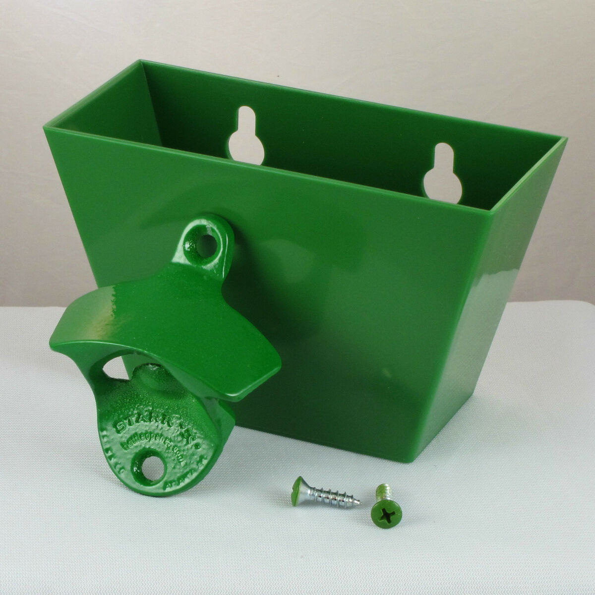Light Green Plain Combo Starr Wall Mount Bottle Opener and Green Cap Catcher Set