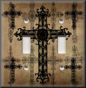 Light Switch Plate Cover Gothic Old World Crosses Brown