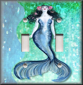 Light switch plate cover swimming mermaid bathroom home for Mermaid bathroom decor vintage