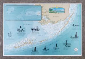 Lighthouses of The Florida Keys Chart Driftwood Framed ...