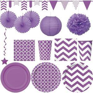 Lila party dekoration sommer fest geburtstag deko bunt einweggeschirr kinder ebay - Party deko kinder ...