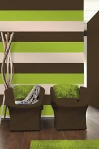 Lime Green Brown Cream Striped Wallpaper A
