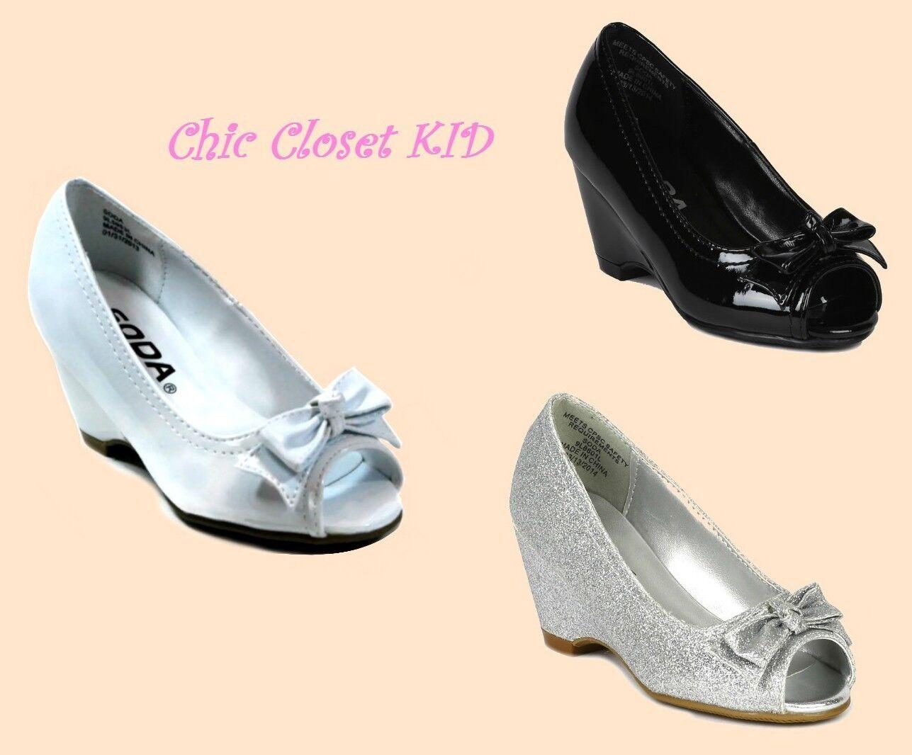 little girls jr youth high heel wedge open toe glitter