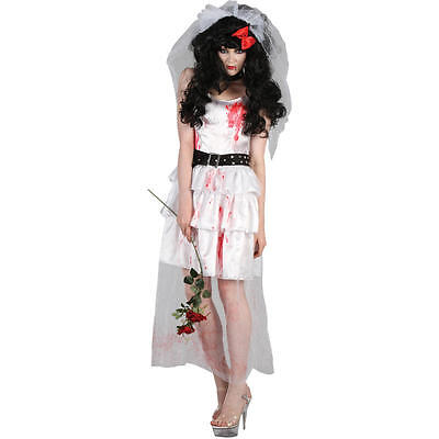 Living Dead Cursed Zombie Bride Ladies Halloween Horror Fancy Dress Costume