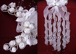Locken-Brautschleier-Perlen-Baendergesteck-Haarschmuck-Kopfschmuck-weiss-ivory-neu