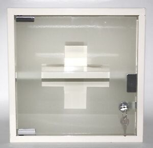 locking medicine wall cabinet cream enamelled metal glass door 2 x