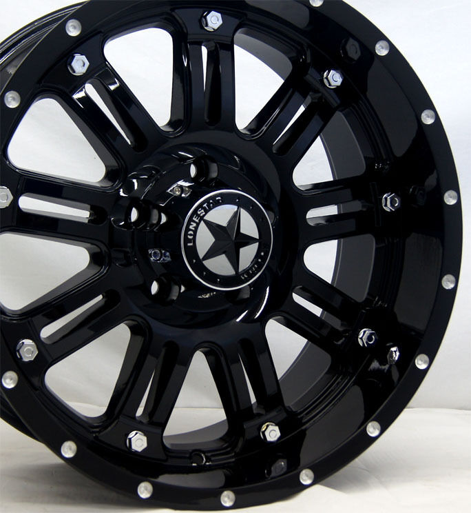 "Lonestar ""489"" Gloss Black Wheels 20 inch Dodge Truck RAM 1500 20"" Rims 5x5 5"